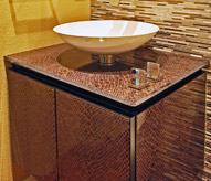Sink with brown hide